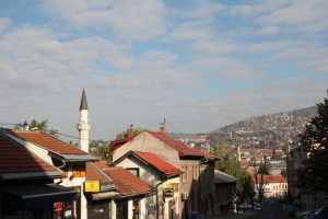 typical Sarajevo landscape with mosque towers