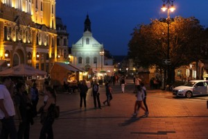 lively old town in Pécs
